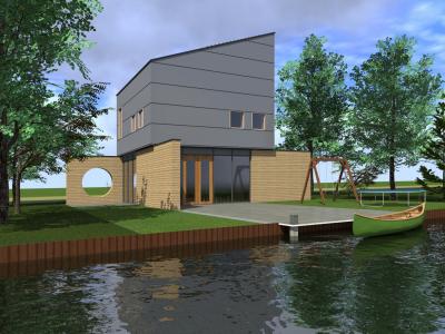 vrijstaande villa BG openbaar-verdieping privé, aan het water, gasloos, nul-op-de-meter